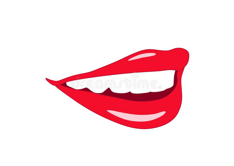 Smiling mouth with teeth and lips of young woman stock illustration