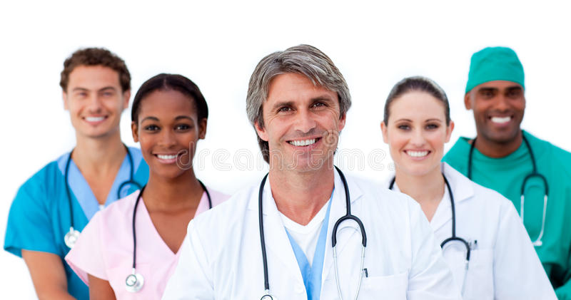 Smiling multi-ethnic medical team royalty free stock photo