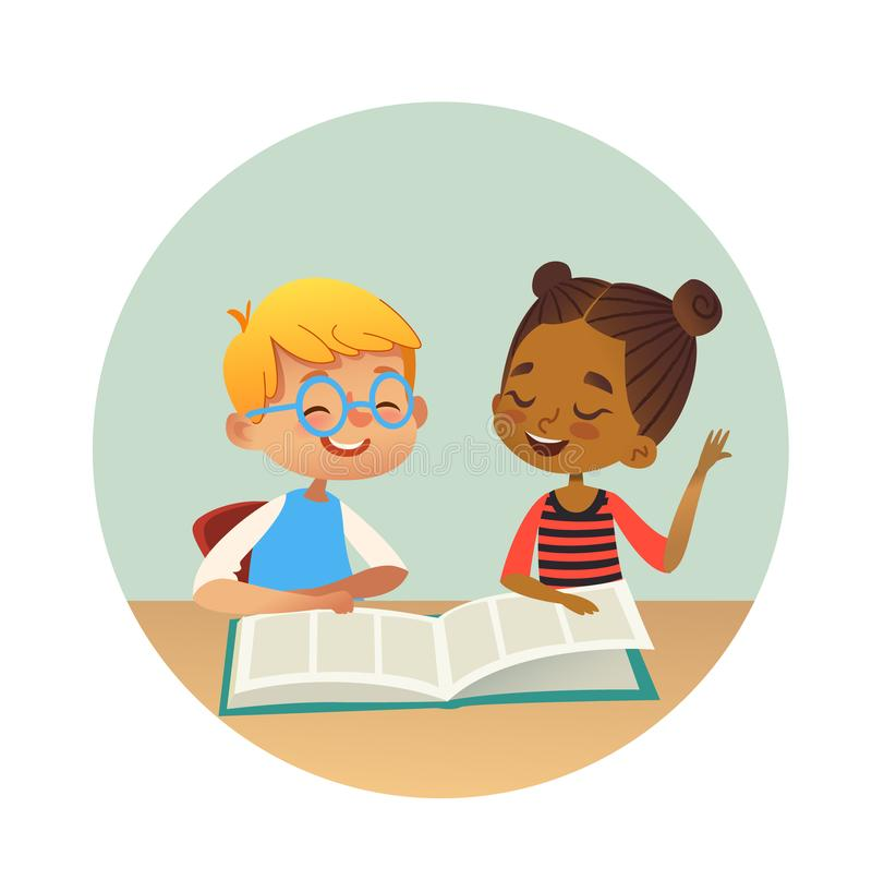 Smiling multiracial boy and girl reading books and talking to each other at school library. School kids discussing royalty free illustration