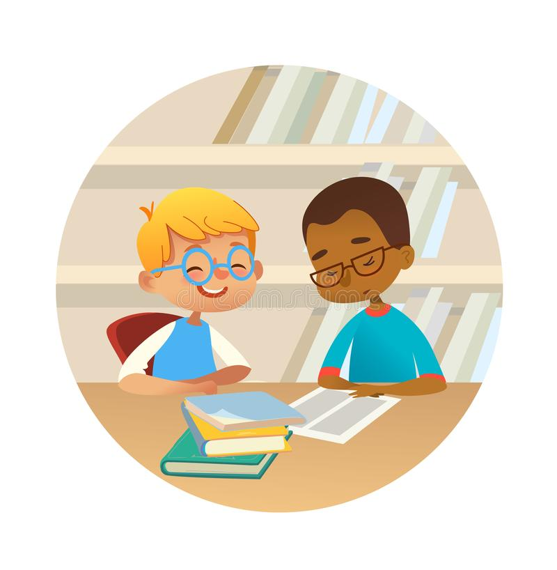 Smiling multiracial boys reading books and talking to each other at school library. School kids discussing literature in. Smiling children reading books and vector illustration