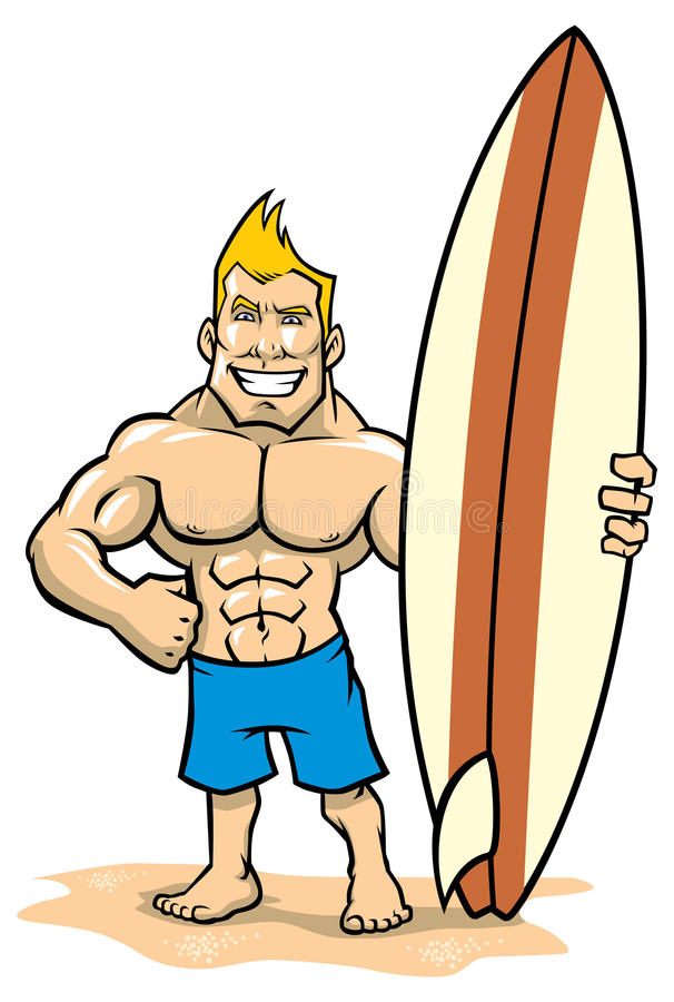 Smiling muscle surfer posing with surfboard. Vector of smiling muscle surfer posing with surfboard stock illustration