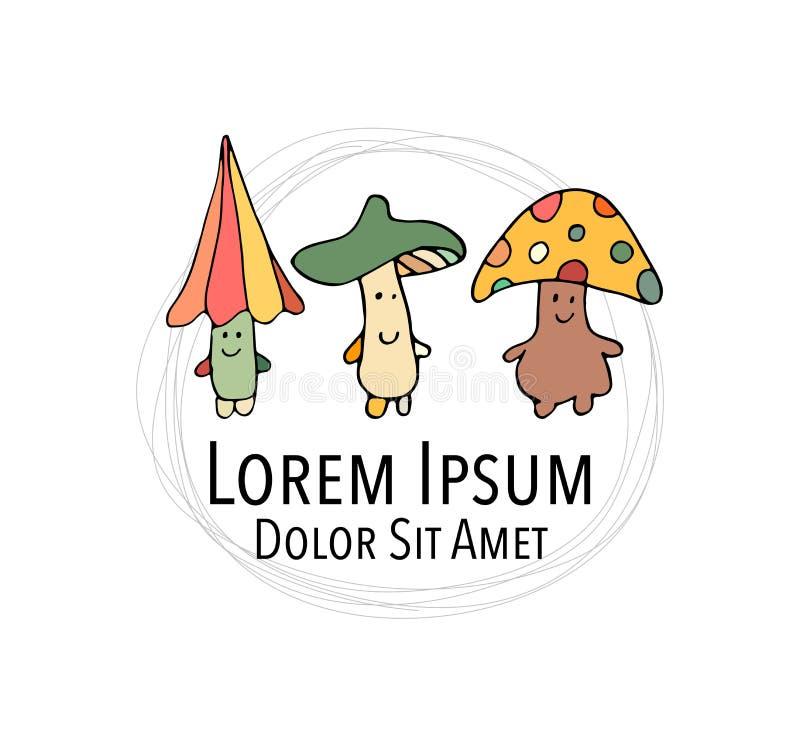 Smiling mushrooms, sketch for your design. Vector illustration vector illustration