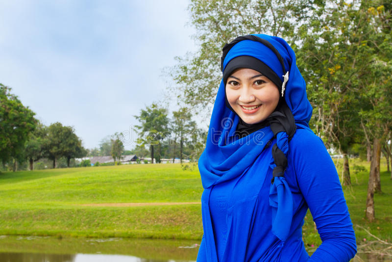 Smiling muslim woman. stock photos
