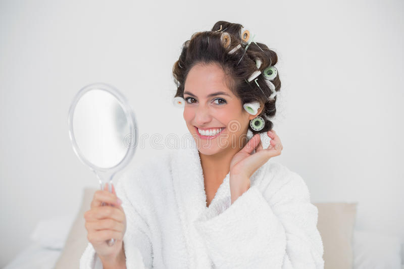 woman holding hand mirror. Download Smiling Natural Brunette Holding Hand Mirror Stock Image - Of Bath, Household: Woman