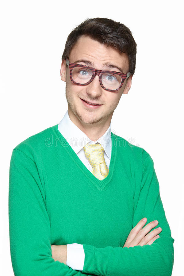 Smiling nerd young man royalty free stock photo