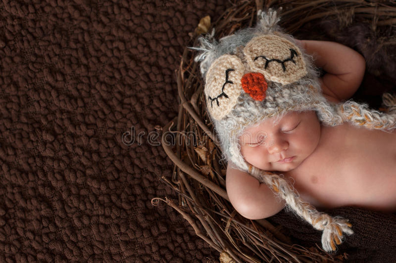 Smiling Newborn Baby Boy Wearing an Owl Hat. Three week old, smiling, newborn baby boy wearing a crocheted owl hat and sleeping on his back in a nest royalty free stock photography