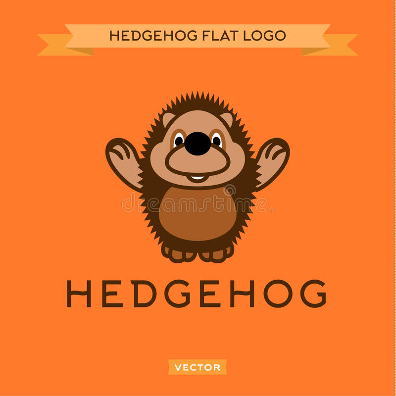 Smiling nice hedgehog welcomes the flat style stock illustration