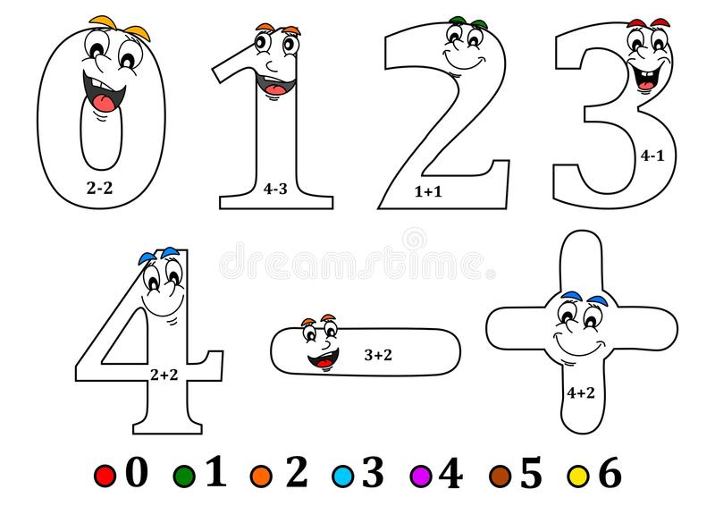 Smiling numbers for coloring as counting for kids - coloring book royalty free illustration