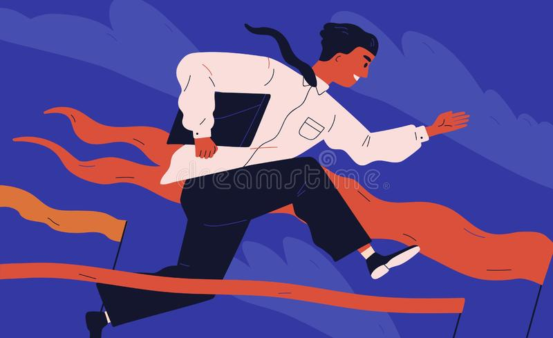 Smiling office worker or clerk jumping over barrier. Concept of person overcoming obstacles, withstanding adverse royalty free illustration