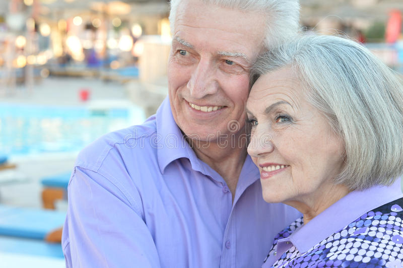 Smiling old couple royalty free stock images