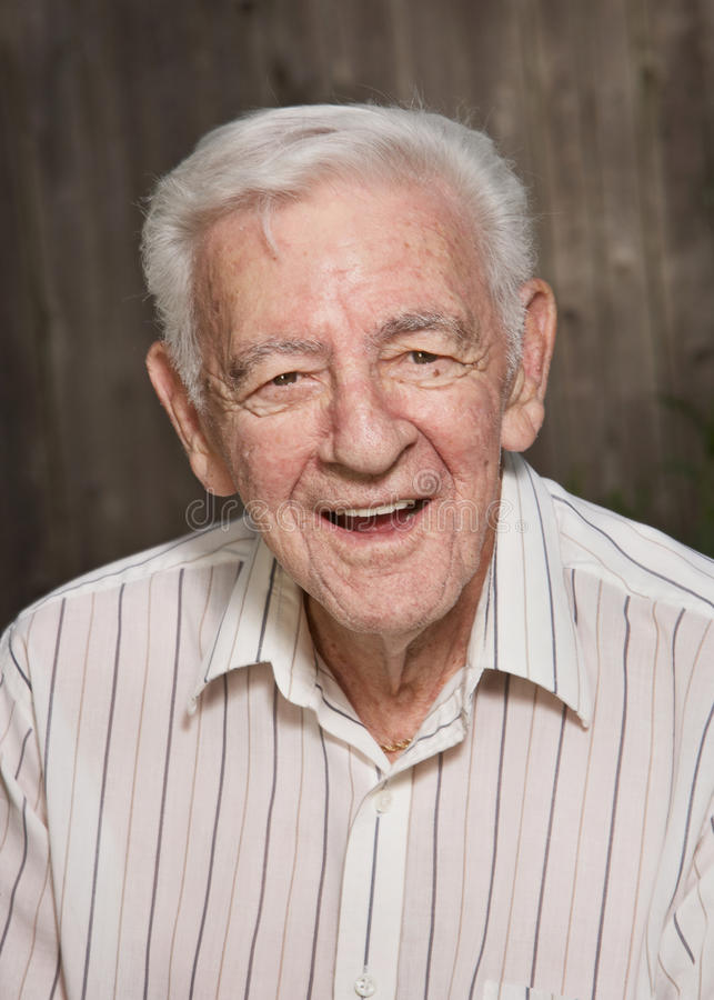 Smiling old man stock photo