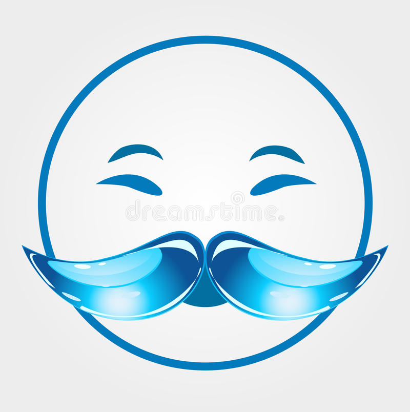 Smiling old man. With droplet shaped mustache stock illustration