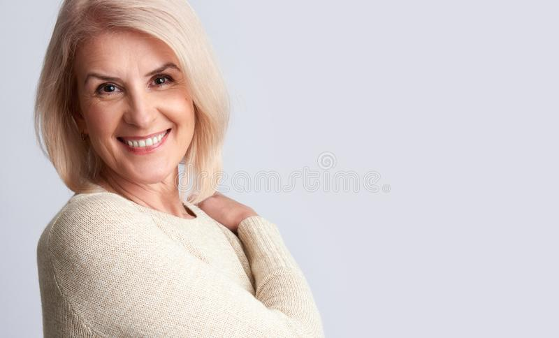 Smiling old woman. anti aging concept royalty free stock images