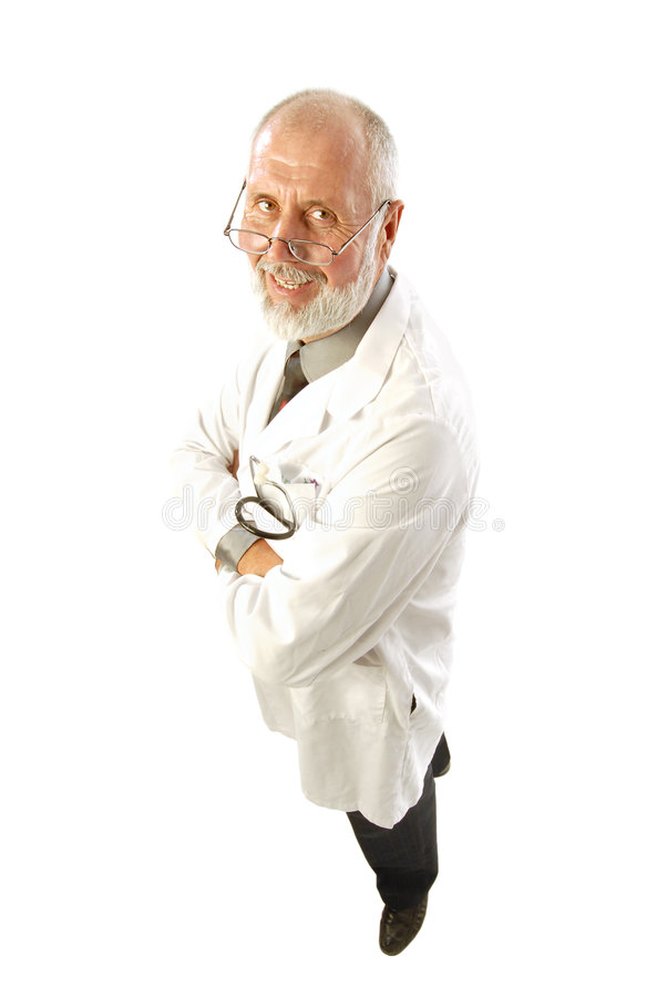 Smiling older doctor. Older, happy doctor or scientist in a labcoat; isolated on white stock photos