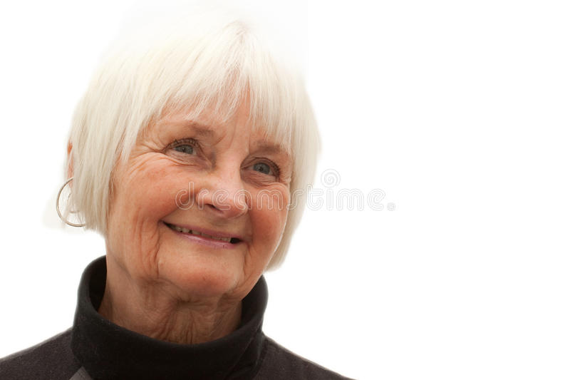 Smiling older woman with room to copy royalty free stock image