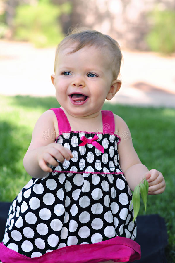 Free Smiling One Year Old Girl Outdoors Stock Photo - 14443430