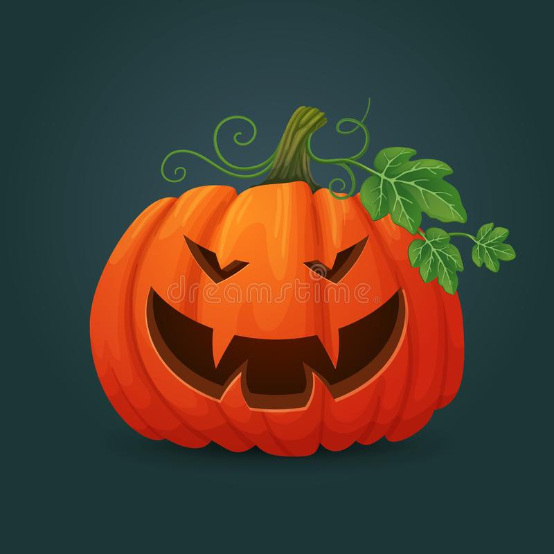 Smiling orange oval halloween pumpkin showing vampire teeth with green leaves and vines. stock illustration