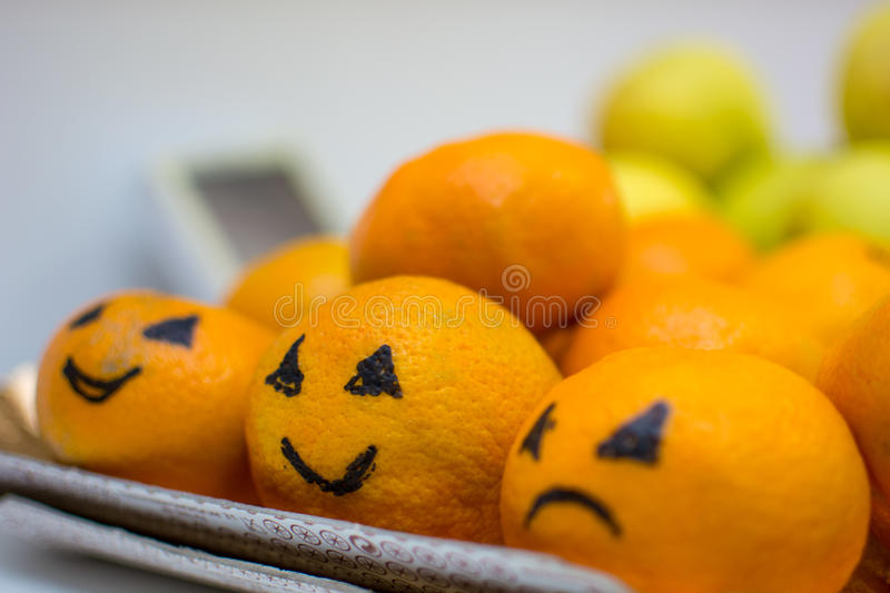 Smiling oranges royalty free stock images