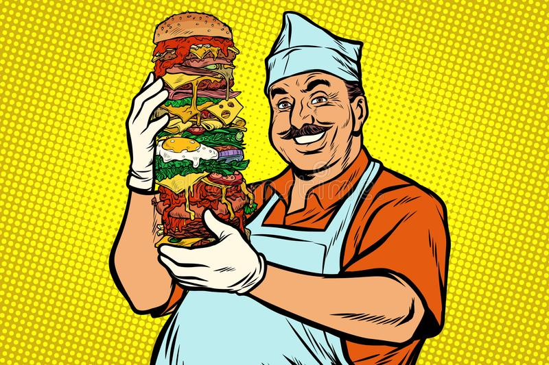 Smiling Oriental street food chef. big Burger royalty free illustration