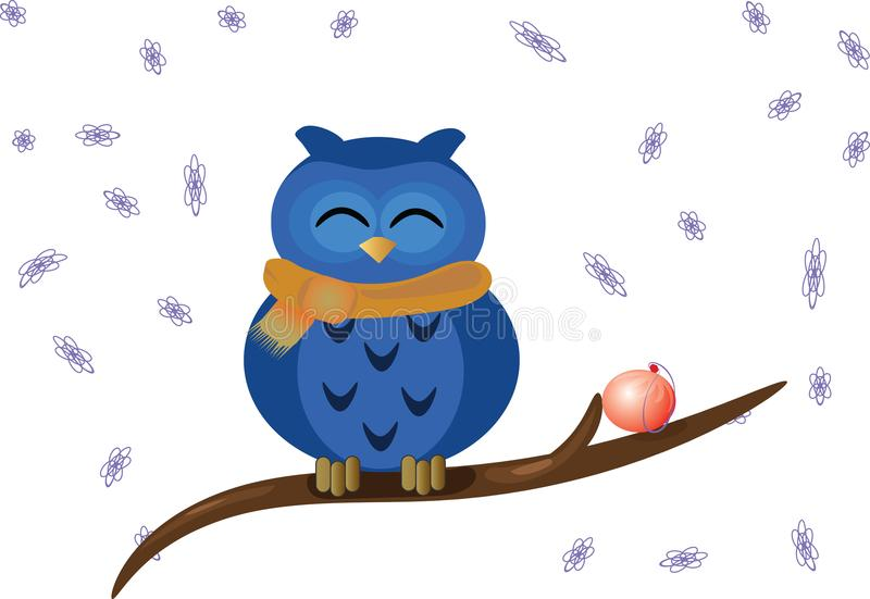 Smiling owl on the branch stock photography
