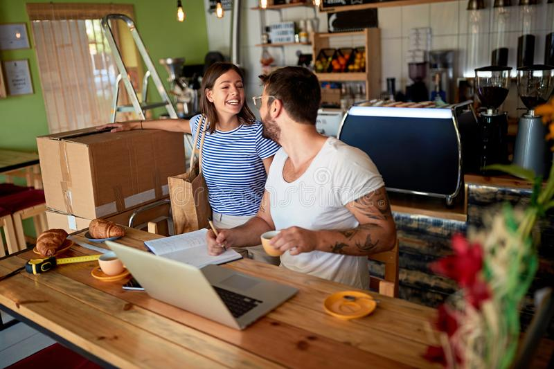 Owner in coffee shop. Small business owner stock images