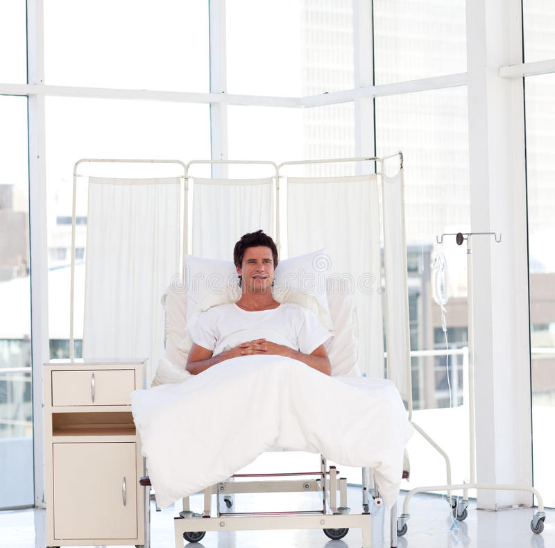 Smiling patient recovering in a hospital