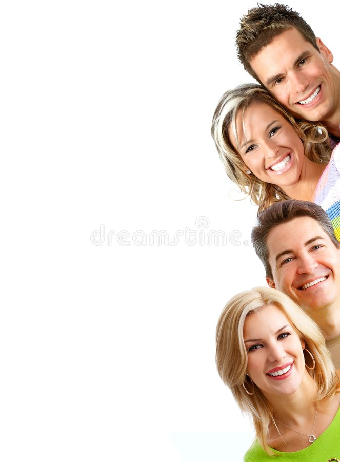 Smiling people. Young love people smiling. Over white background