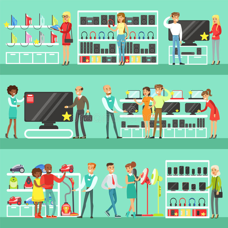 Smiling People In Electronic Store Shopping For Domestic Equipment Choosing With Shop Assistant Help Set Of Cartoon stock illustration