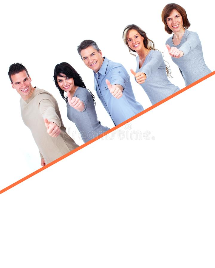 Smiling people with broadsheet. Smiling people group with big poster over white background royalty free stock images