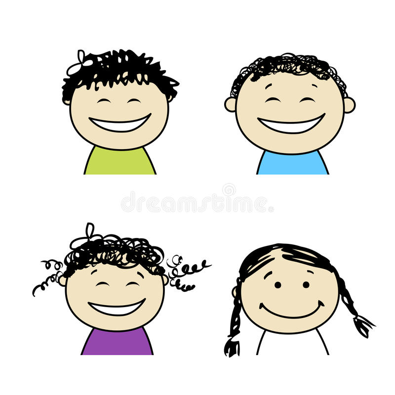 Smiling people icons for your design stock illustration