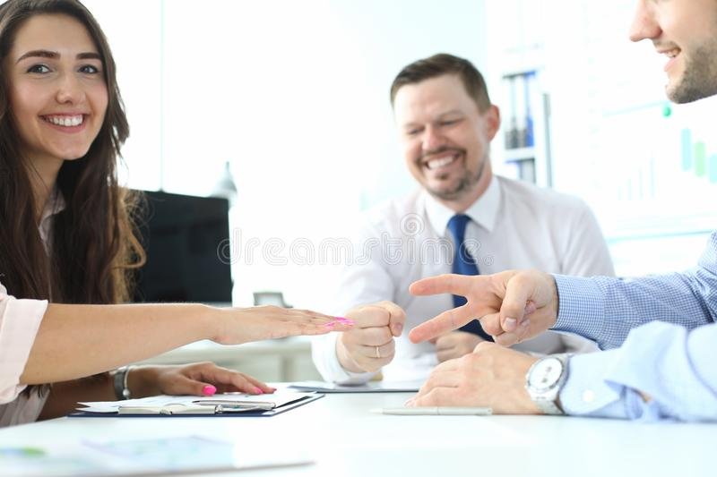 Smiling people in office gaming royalty free stock photo