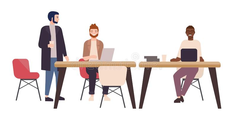Smiling people or office workers sitting at tables and working on laptop computers. Happy freelancers in co-working area. Or shared workspace. Colorful vector vector illustration