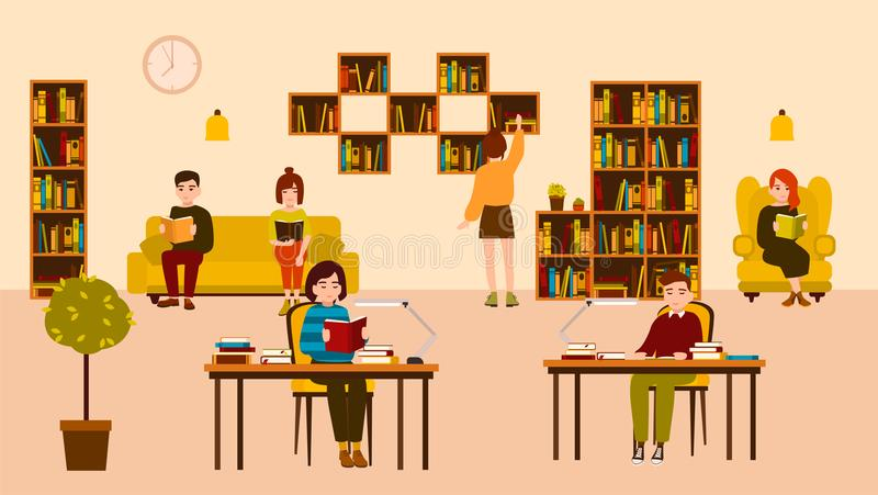 Smiling people reading and studying at public library. Cute flat cartoon men and women sitting at desks and on sofa stock illustration
