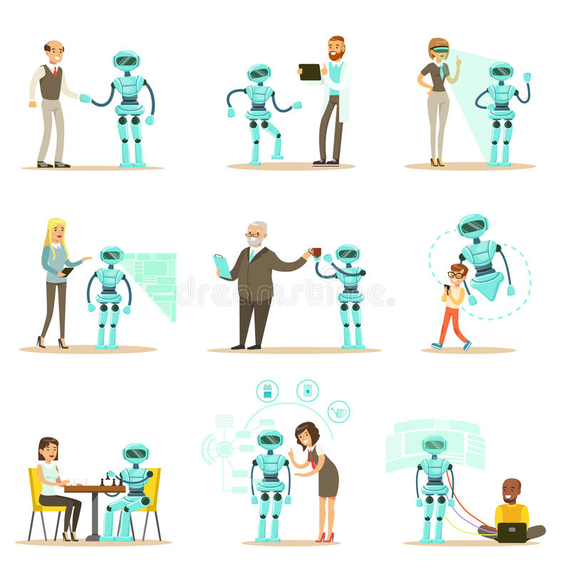 Smiling People And Robot Assistant, Set Of Characters And Service Android Companion stock illustration