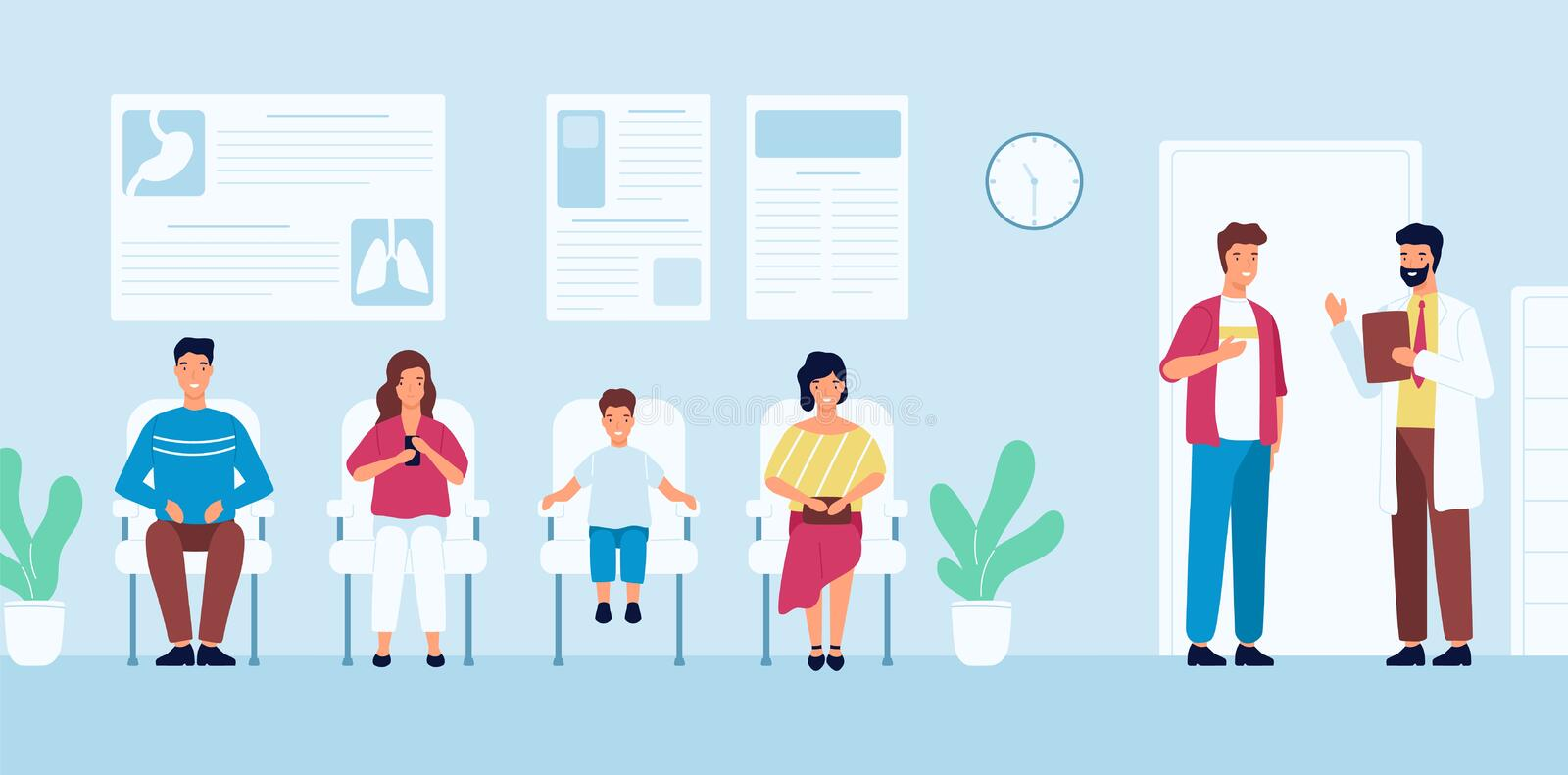 Smiling people sitting in chairs and waiting for doctor`s appointment time at hospital. Men and women at physician`s stock illustration