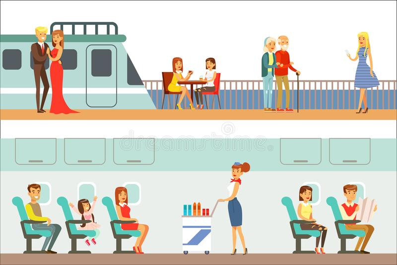 Smiling People Taking Different Transport, Metro, Plane And Ship Set Of Cartoon Scenes With Happy Travelers. Men And Women Travelling With Public vector illustration