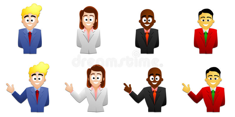 Smiling peoples. Set of different origin smiling peoples isolated on a white background stock illustration