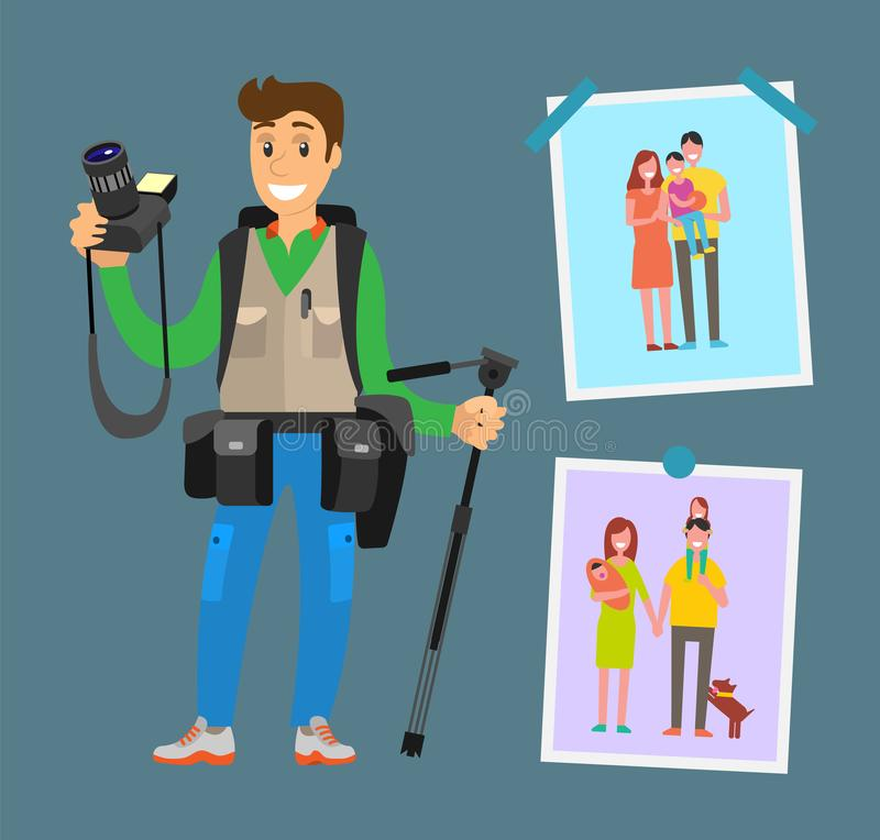 Smiling Photographer with Professional Equipment. Camera gears and tripod. Example of cameraman content, family pictures of parents and children vector royalty free illustration
