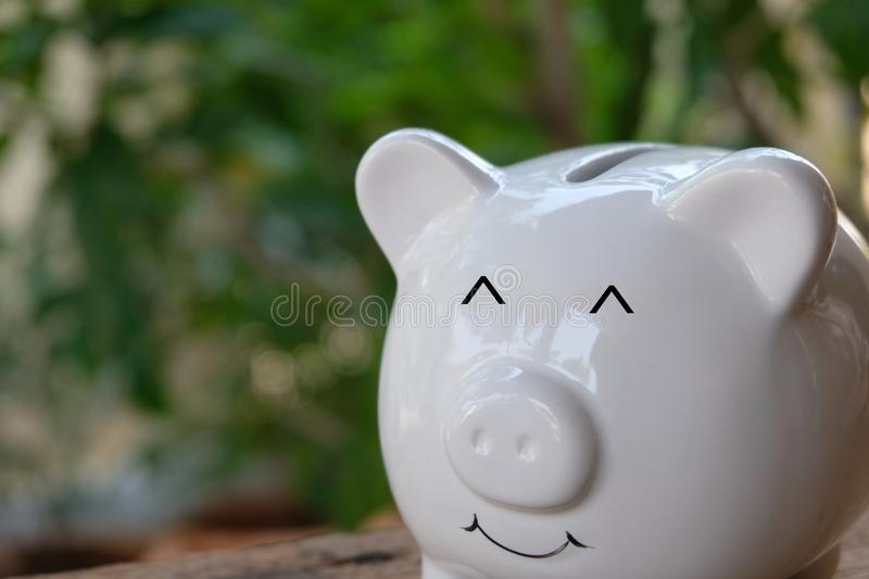 Smiling piggy bank with bokeh background. Savings and investment concept. Copy space. royalty free stock photo