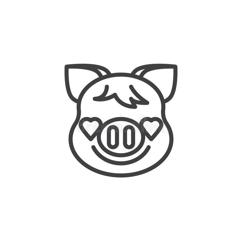 Smiling Piggy Face With Heart Eyes Emoji line icon. Linear style sign for mobile concept and web design. Piggy in love emoticon outline vector icon. New year stock illustration