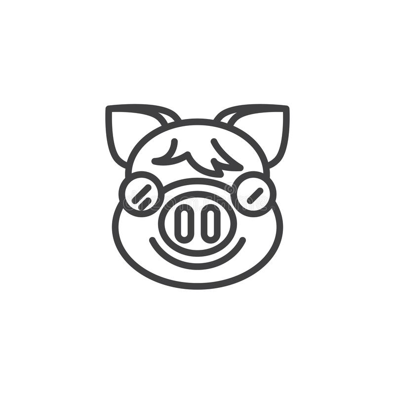 Smiling Piggy Face With Sunglasses Emoji line icon. Linear style sign for mobile concept and web design. Happy piggy face emoticon outline vector icon. New vector illustration