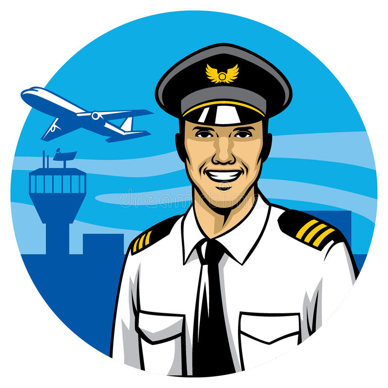 Smiling pilot stock illustration
