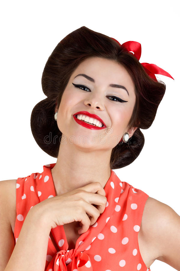Smiling pin up brunette woman stock photos