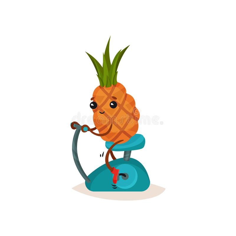 Smiling pineapple on stationary bicycle. Funny cartoon character with tuft of green leaves. Active lifestyle. Flat vector illustration