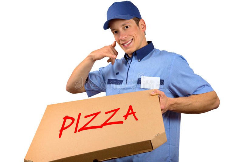 Smiling pizza delivery man holding pizza box. Pizza delivery man holding pizza box and making a phone gesture, isolated on white background stock photos