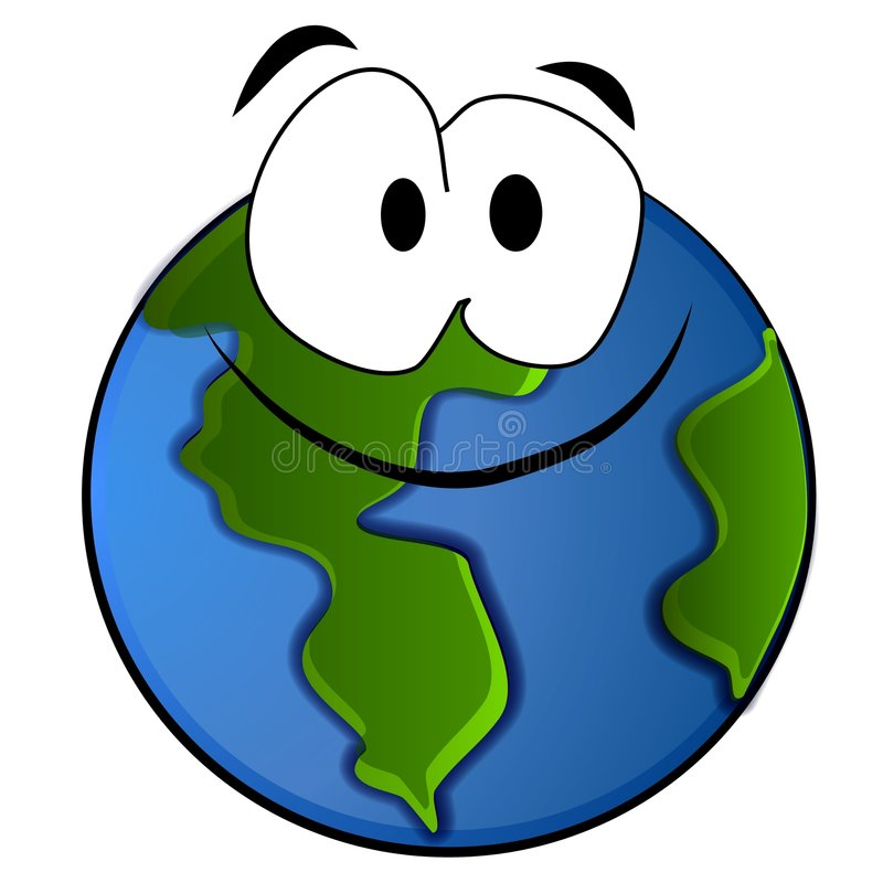 Smiling Planet Earth Cartoon stock illustration