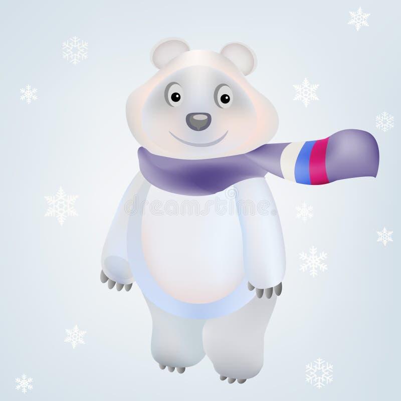 smiling polar bear character in vector olympic gam stock vector