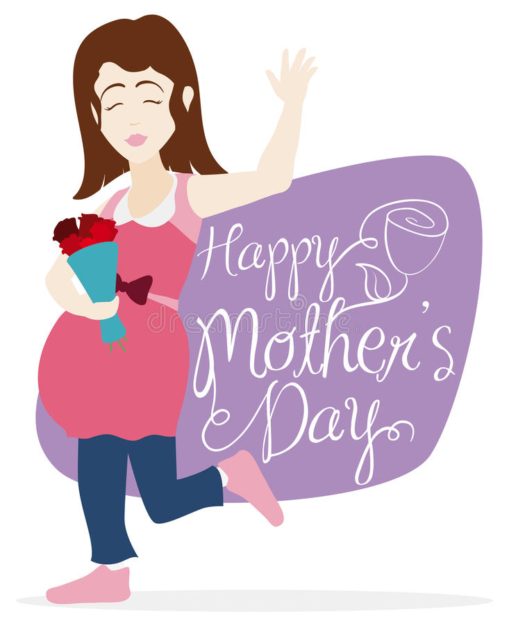 Smiling Pregnant Woman with Bouquet Celebrating Mother's Day, Vector Illustration royalty free stock photos