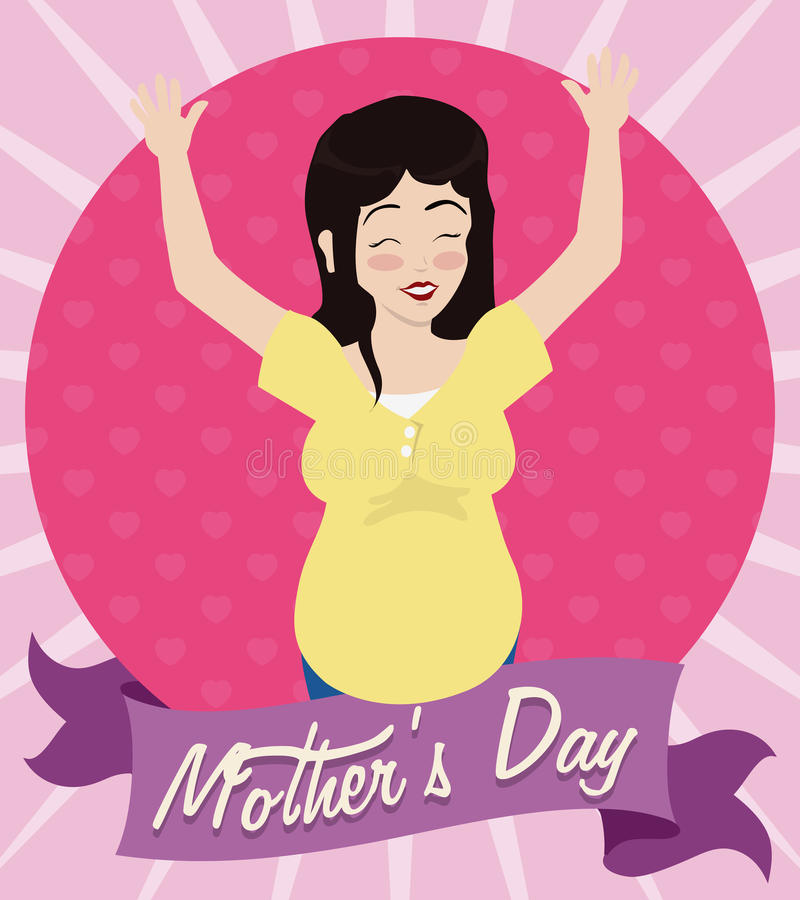 Smiling Pregnant Woman with her Hands Up Celebrating Mother's Day, Vector Illustration royalty free stock photos