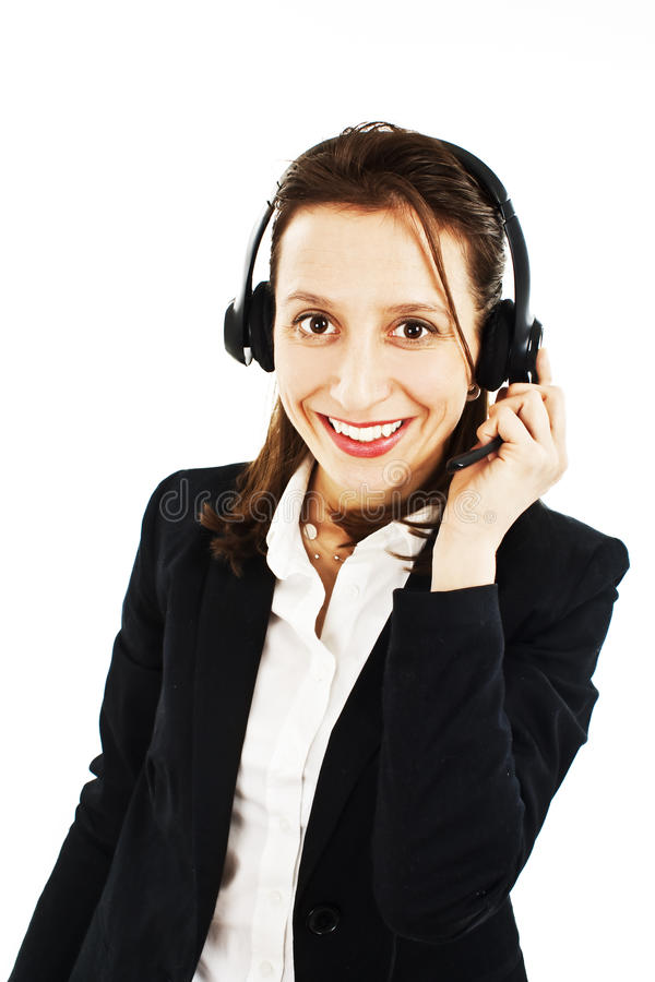Smiling Pretty Business Woman With Headset Royalty Free Stock Images
